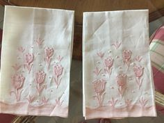 2 WHITE LINEN GUEST/KITCHEN TOWEL WITH PINK EMBROIDERED APPLIQUE TULIPS