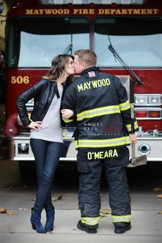 Fire fighter engagement session, photo shoot with fire truck, fireman engagement photos  (10)