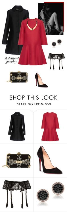 """""""#PolyPresents: Statement Jewelry"""" by isidora ❤ liked on Polyvore featuring Blugirl, Valentino, Elie Saab, Christian Louboutin, L'Agent By Agent Provocateur, Heels, dress, coat, contestentry and polyPresents"""