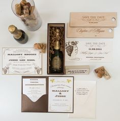 Mallory Wine Themed Wedding Invitations From Partners, Simply Personal.  Customize Yours With Paper Passionista.