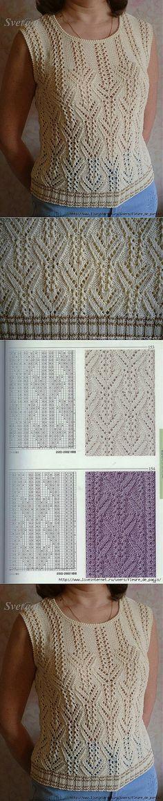 кофточка(узор). | в ВЯЗАНИЕ СПИЦАМИ | Постила Lace Knitting Patterns, Knitting Stiches, Arm Knitting, Knitting Charts, Knitting Designs, Knitting Projects, Stitch Patterns, Summer Knitting, Lace Sweater