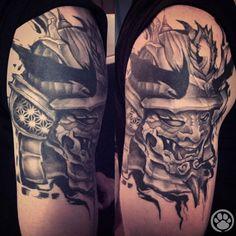 samurai tattoo by tanuki ,aix en provence, https://www.facebook.com/tanukifisherman/