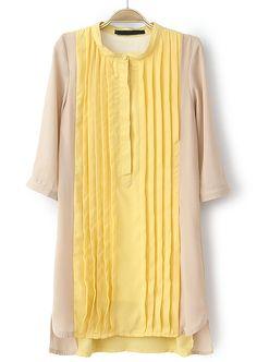 Yellow Apricot Stand Collar Pleated Chiffon Dress