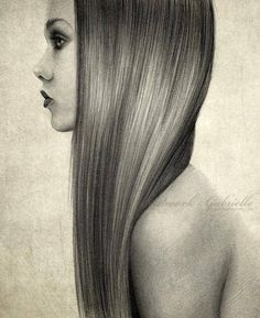 the hair detail! Give me a blank stare - Portrait Illustrations by Gabrielle ! Amazing Drawings, Beautiful Drawings, Cool Drawings, Pencil Drawings, Amazing Art, Pencil Art, Awesome, Arte Sketchbook, How To Draw Hair