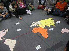 Large floor map to review map skills  http://thirdgradethinkers8.blogspot.com/2011/12/where-in-world.html