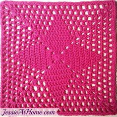 crochet granny square design Four-Points-Square-Free-Crochet-Pattern-by-Jessie-At-Home-Pink - This easy afghan square is great for beginners! The Four Points Square uses 3 simple stitches. Learn from a master, Jessie Crochet Blocks, Granny Square Crochet Pattern, Crochet Squares, Crochet Granny, Crochet Motif, Crochet Doilies, Easy Crochet, Free Crochet, Knit Crochet
