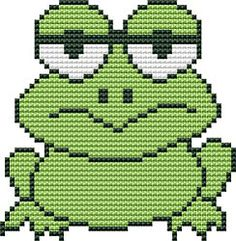 Frog, free cross stitch patterns and charts - www.free-cross-stitch.rucniprace.cz