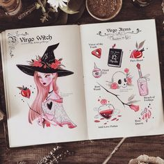 The Virgo witch and her items. ♍🌹✨ Hope you enjoy the Virgo items. and be ready. The Zodiac Wicthes will back this ! ❤… I'm a Virgo! Virgo Art, Zodiac Art, Witch Drawing, Witch Aesthetic, Aesthetic Dark, Aesthetic Bedroom, Aesthetic Fashion, Halloween Drawings, Modern Witch