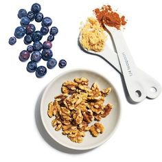 Rise and Shine Quinoa    Start with 2/3 cup quinoa and then add your favorite combos. First up:    1/4 cup fresh blueberries   1 tablespoon chopped toasted walnuts   2 teaspoons brown sugar   1/4 teaspoon cinnamon