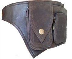 Dark brown LEATHER utility POCKET BELT hip waist by Gekkoonline, £39.00