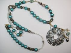 Turquoise Brown Necklace With Silver Pendant , Long Turquoise Blue and Chocolate Brown Beaded Necklace by Wireandcolour on Etsy