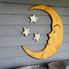 manualidades mdf Moon Sign Nursery Decor Crescent Moon Lunar Man in the Moon Large Scale Vintage Style Moon Sign Halloween Decor Moon Nursery, Star Nursery, Nursery Signs, Girl Nursery, Nursery Decor, Wall Decor, Nursery Ideas, Wall Art, Nautical Baby Bedding