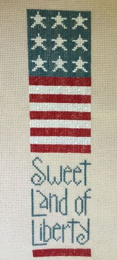 Completed Cross Stitch 4th of July American Flag Sweet Land of Liberty | eBay