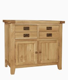 Provence Oak Small 2 Door 2 Drawer Buffet - Crafted from North American oak, this range has a rustic appeal and is ideal for adding that touch of rustic charm to any home. Crafted using artisan methods, pieces feature tongue and groove panels as well as dovetailed joints. Hand-finished with a light lacquer finish which protects and highlights, pieces are adorned with antiqued brass handles and hinges.