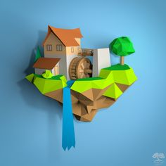 """Have fun and also decorate your home. Spend time with beloved family or friends and make your own Fantasy/ Fairy tale Watermill. Our PDF pattern of low poly Water Mill is simple to build and is perfect as Wall Decor to your house. It's a lot of fun for kids as well as adults... and you can do it with your own hands. This paper craft sculpture is part of the """"Floating Island Village"""" collection. #paperart #papercraft #wallart #cutandfold #lowpoly #gift #DIY #3Dpaper #beacon #watermill Wire Tree Sculpture, Small Sculptures, Lemon Green Colour, 3d Paper, Paper Crafts, Origami Lights, Clever Kids, Floating Island, Origami Easy"""