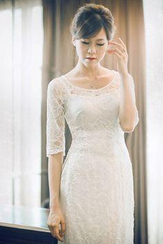Phong cách áo dài cưới cổ thuyền hoàn toàn mới