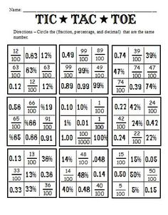 fraction decimal percentage games printable Fractions Decimals And Percents And Worksheets To Go With Fraction Decimal Percentage Games Printable Math Teacher, Math Classroom, Teaching Math, Decimals Worksheets, Math Fractions, Dividing Fractions, Equivalent Fractions, Comparing Fractions, Math Math