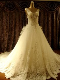 A-Line Floor-Length V-Neck Beading Bowknot Cathedral Train Wedding Dress & romantic Wedding Dresses