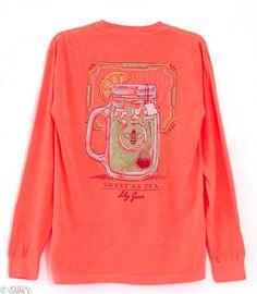 Lily Grace Sweet Tea Long Sleeved Shirt in Orange 10435