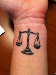 Grey Ink Libra Tattoo On Wrist For Girls