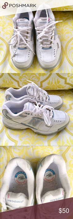 🎀 Comfy NEW BALANCE TENNIS SNEAKERS 🎀 Like Brand Ne Women's NEW BALANCE TENNIS SNEAKERS. White with small blue trim for Breast Cancer Ribbon style 653 and 360 FIT. Size 8. I wore once but need other size. Perfect Like New with support. New Balance Shoes Sneakers