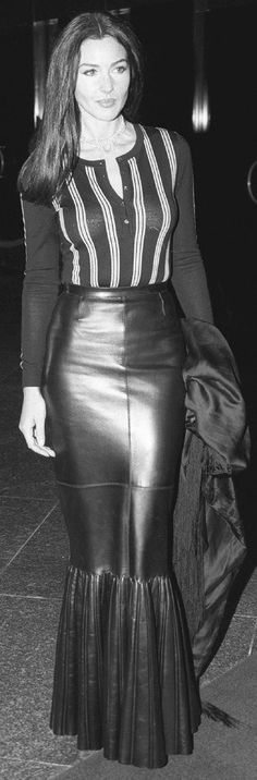 Monica Bellucci - leather skirt