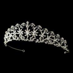 Silver Clear Rhinestone Sun Floral Tiara Headpiece 757
