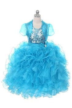 Children's Girls Turquoise Special Occasion Dress by The Rain Kids, Sizes 4-14 via Alyssa's Garden: A Clothing Boutique for Baby, Toddler,