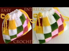Crochet Fast And Easy Entrelac Bag - We Love Crochet Crochet Slipper Pattern, Crochet Slippers, Love Crochet, Easy Crochet, Tunisian Crochet, Crochet Purses, Crochet Videos, Knitted Hats, Embroidery