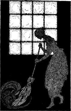 My Book of Favorite Fairy Tales illustrated by Jennie Harbour , 1921. Cinderella sweeping.