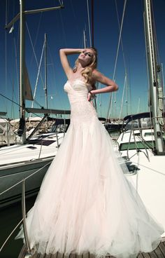 Blush is a lovely alternative to white, exp this Galia Lahav Bridal wedding dress.