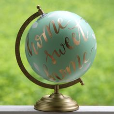 "Hand Painted Globe - 8"" - Home Sweet Home"