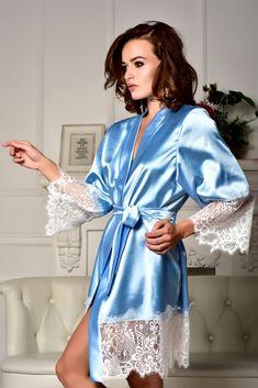 Blue robe with white lace Kimono robe Bridal robe Bridesmaid robes Satin robe  lace sleeves Plus size robe Bridal kimono Bride dressing gown 3ec3219f3