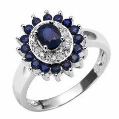 18k White Gold Sapphire and Diamond Flower Ring - **CLICK HERE TO SEE DETAILS - http://www.perfect-gift-store.com/sapphire-rings-for-women.html
