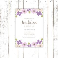 Flower Party Invitation Purple Birthday by MooseberryPrintShop, $64.00