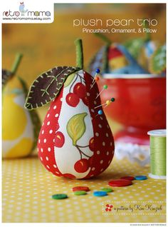 Pear Sewing Pattern - PDF Sewing Pattern for Plush Pear Pincushion, Ornament, and Pillow Instant Download