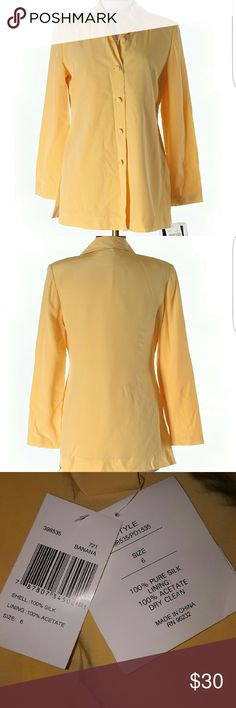 *flash sale* Patrick collection long-sleeve top New with tags. Patrick collection Banana colored long sleeve 100% silk top. Does have small shoulder pads. Size 6. 32 inch chest, 30 inch length. No holes or stains. Patrick Collection Tops