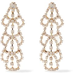 Kenneth Jay Lane Gold-plated crystal clip earrings ($40) ❤ liked on Polyvore featuring jewelry, earrings, accessories, ear rings, metallic, crystal earrings, clip earrings, gold plated jewelry, metallic jewelry and crystal stone jewelry