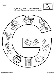 letter g beginning sound color pictures worksheet