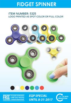 FIDGET SPINNER – Let us put your logo on these hot products!  Call (941) 637-0133 to place your order.