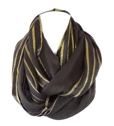 Lurex Stripe Scarf ABSOLUTELY STUNNING! Photos do not capture even a small amount of how beautiful this scarf is. Beautiful & versatile black with metallic lurex gold accent. The perfect weight for ye
