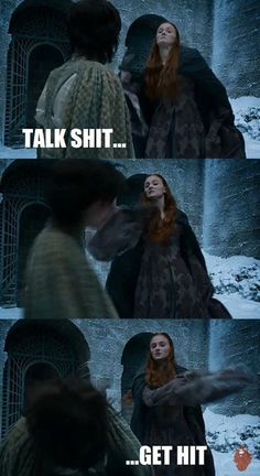 Sansa slaps the snot out of that little odd ball Robin and proceeds to be kissed by Peter and almost taken down by Lysa!!