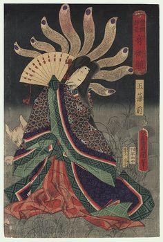 Toyokuni III/Kunisada (1786 - 1864) Japanese Woodblock Print   Ichimura Kakitsu IV as Tamamo no mae, 1865   Series; A Contest of Magic Scenes by Toyokuni