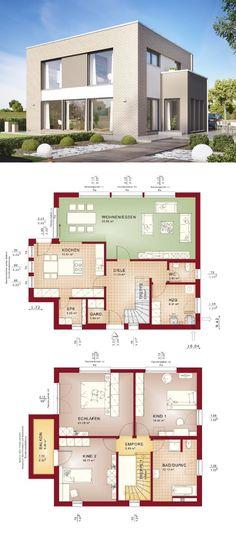 Stadtvilla modern mit Klinker Fassade & Flachdach Architektur im Bauhaus-Stil - Einfamilienhaus Grundriss Haus Evolution 154 V9 Bien Zenker Fertighaus bauen - HausbauDirekt.de