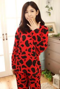 Red&Black Cute Cows Patches Fall Long Pyjama