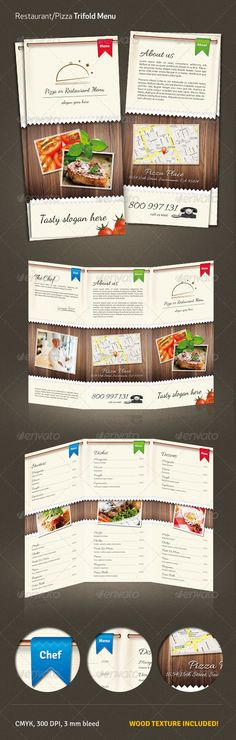 Restaurant / Pizza Menu #2 #GraphicRiver Stylish A4 to DL (297×210 to 99×210 mm) – pizza / restaurant menu. wood texture and logo included print ready CMYK, 300 dpi 3mm bleed Photos and font are NOT included (links from .photodune provided in the help file) Created: 17February13 GraphicsFilesIncluded: PhotoshopPSD Layered: Yes MinimumAdobeCSVersion: CS3 PrintDimensions: 99x210 Tags: