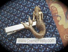 Brass Mermaid Tie Clip Gothic Victorian Men's Tie Clip Nautical Tie Bar Steampunk Tie Clip Gifts For Him