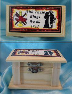 Wedding Bridal Ring Bearer Pillow WOOD Box FIREFIGHTER Fireman Fire fighter man Firefighter Cakes, Firefighter Paramedic, Firefighter Wedding, Ring Bearer Pillows, Ring Pillows, Plan My Wedding, Dream Wedding, Wedding Day, Wedding Things