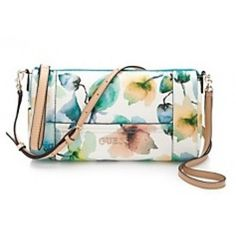 Guess Delaney Xbody Top Zip watercolour flower print shoulder strap- Neola Apparel Guess Bags, Shoulder Strap, Zip Around Wallet, Floral, Watercolour, Accessories, Jeans, Top, Shoes