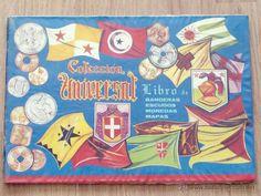 ALBUM CROMOS COLECCION UNIVERSAL LIBRO DE BANDERAS ESCUDOS MONEDAS Y MAPAS 1962 COMPLETO